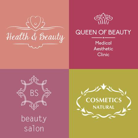 logo medicina: Conjunto de logotipos vectoriales y símbolos de la belleza, cosméticos, tratamientos anti-envejecimiento, tratamientos corporales y la cara.
