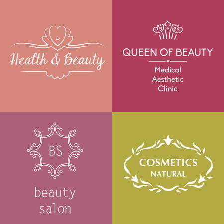 Set of vector logos and symbols for beauty, cosmetics, anti-aging treatments, body treatments and face.