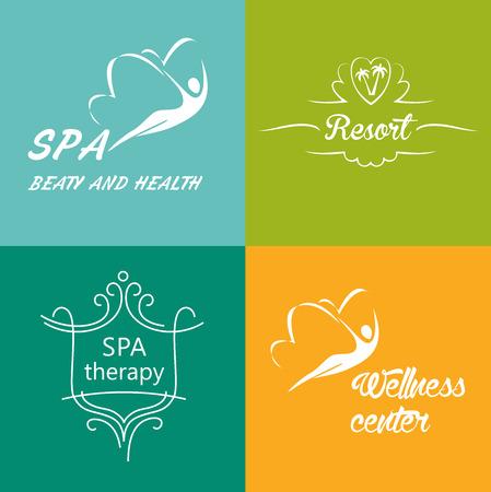 saludable logo: Conjunto de logotipos vectoriales para el centro de bienestar, spa, tratamiento de rehabilitaci�n, centro de salud. Vectores