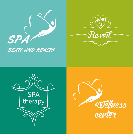 flower logo: Set of vector logos for the wellness center, spa, rehabilitation treatment, health resort.