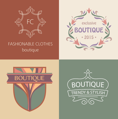 ropa interior femenina: Conjunto de logotipos vectoriales para boutique de ropa, zapatos y accesorios, interiores y muebles. De moda y con estilo. Vintage. El segmento premium.