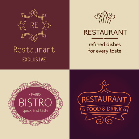 Set of vector logos for restaurants, bars, cafes, bistros. Prestige and elegance, the premium segment.