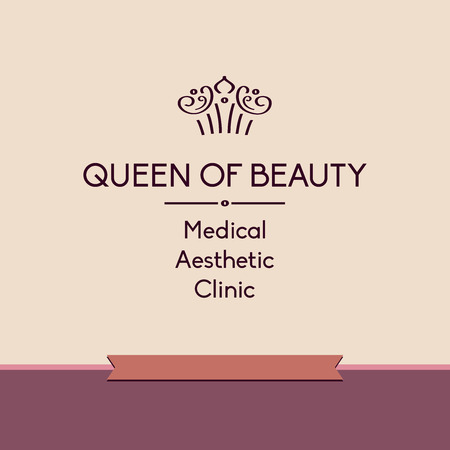 aesthetic: Template vector logo for aesthetic medicine clinic. Facials and body treatments. Prestigious, status, royal.Queen of beauty.