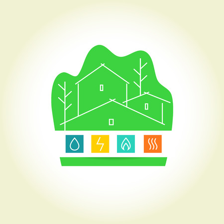 gas radiator: Template vector logo for a construction company. Eco-friendly house. Natural resources and energy icons. Smart home Illustration