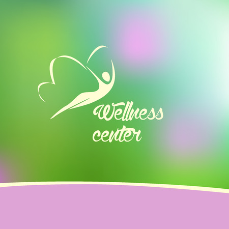 wellbeing: Template logo for a yoga studio, fitness center, alternative medicine center. Blurred background raspberry and green the silhouette logo. Illustration