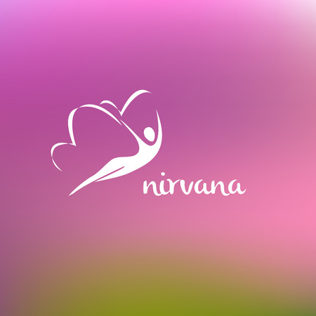 nirvana: Vector logo center of psychological care, spiritual development, alternative medicine center. Nirvana.  Blurred background raspberry and green the silhouette logo.