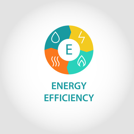 current: Template vector logo for energy companies, energy management and consumer resources. Flat design