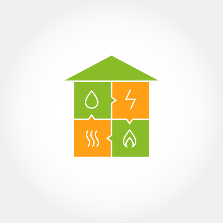 Vector logo for a construction company.  Eco-friendly house. Natural resources and energy icons. Vector