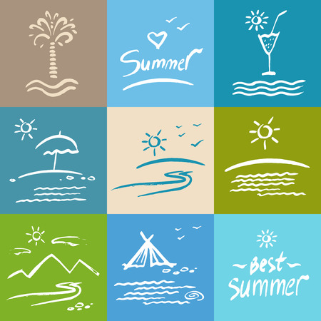 Set brush painted illustrations. Vacation, travel and tourism. White silhouette illustration on a colored background. Vector