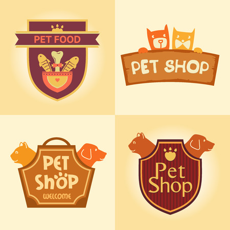 toy shop: Set of vector logos for pet shop, hotel. Animal welfare, quality service and useful food.