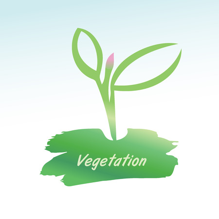 Vector illustration. The growth of plants, seedlings. To break through the earth to bloom.