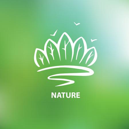 productos naturales: Logo con la imagen de los �rboles y bosques. Medio Ambiente, de la naturaleza. La protecci�n de la naturaleza. Vectores