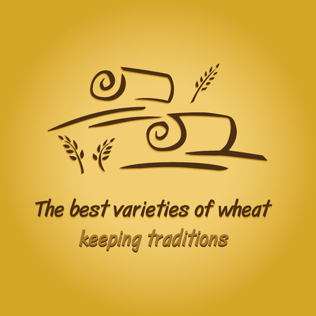 hay bales: Vector logo with field and ears. Harvesting grain.  Keeping traditions