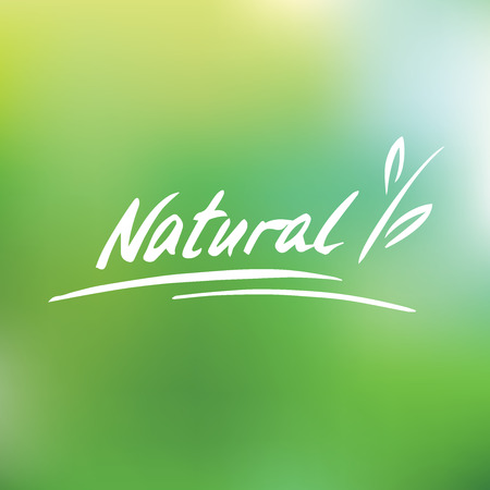 Handwritten vector logo. Natural. Plant. Green blurred background Illusztráció