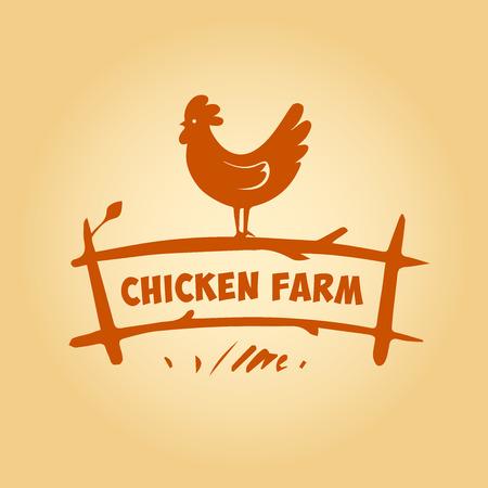 huevo caricatura: Logo Vector. Granja de pollos. Los productos de carne de pollo y huevos. Granja Avícola