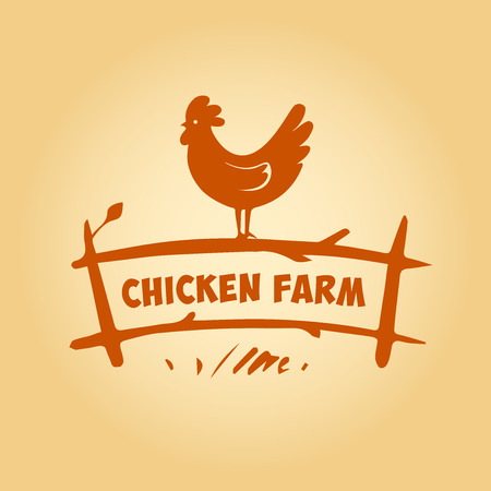 symbol fence: Vector logo. Chicken farm. Products from chicken meat and eggs. Poultry Farm