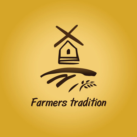 water mill: Vector logo in vintage style. Windmill. Brown and gold colors Illustration
