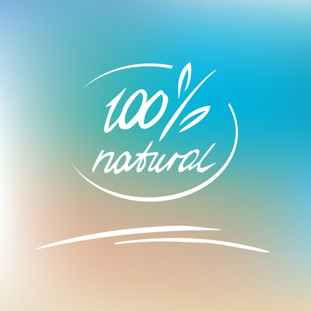 Vector natural label, logo. 100 percent natural. Brush. Lettering