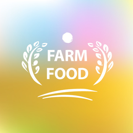Vector logo for farming. Premium quality. Blurred landscape background Vector
