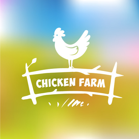 animales de granja: Logo Vector. Granja de pollos. Los productos de carne de pollo y huevos. Granja Av�cola. Fondo borroso