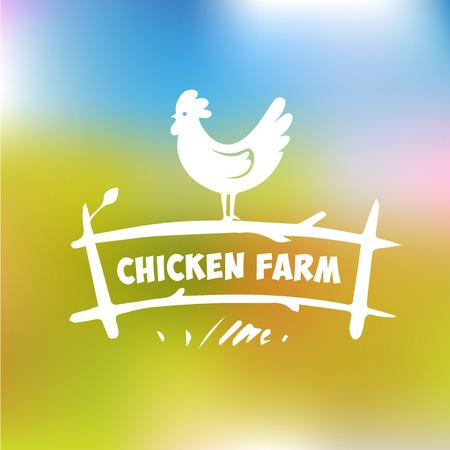 animal cock: Vector logo. Allevamento di polli. Prodotti a base di carne di pollo e uova. Poultry Farm. Sfondo sfocato