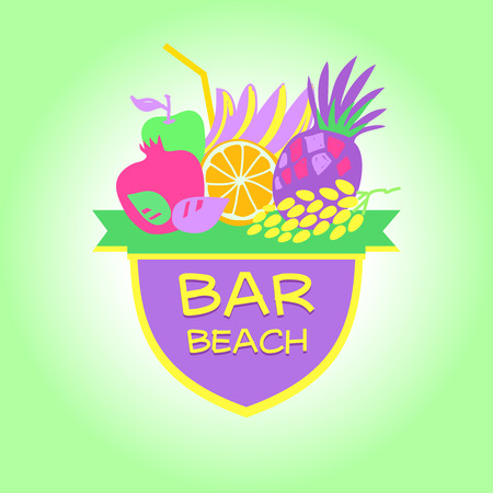 Template vector logo. Beach bar, party. Smoothies and drinks.