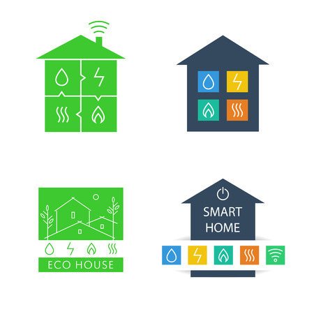 heat home: Set template vector logos. Eco-friendly house. Natural resources and energy icons. Smart home