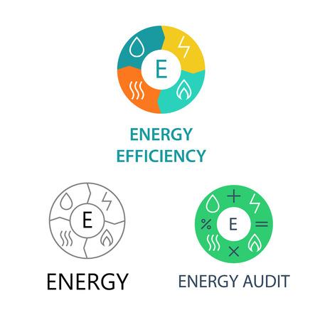 energy management: Set template vector logos for energy companies, energy management and audit. Illustration
