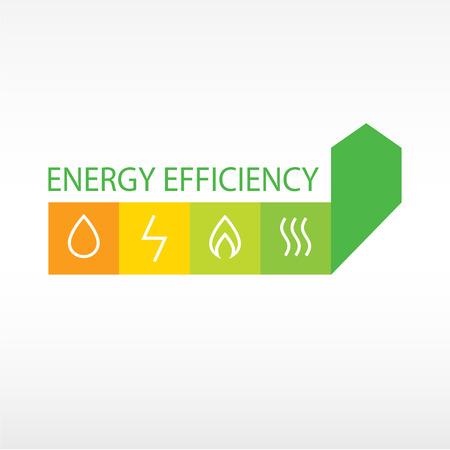 벡터 로고, 에너지 효율. 에너지 효율의 성장의 다이어그램, 자원을 절약.