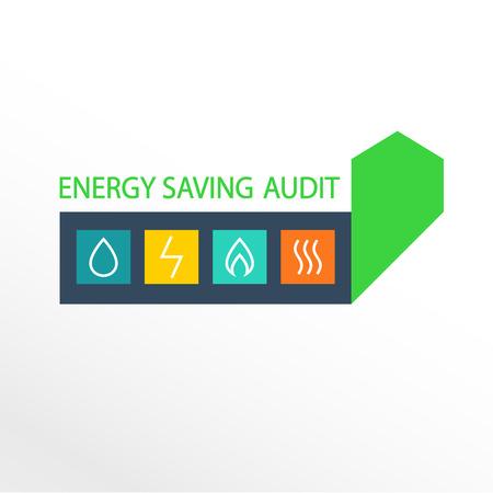 auditoría: Vector logo, la eficiencia energética. Diagrama de crecimiento de la eficiencia energética, el ahorro de recursos.