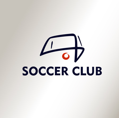 banni�re football: Mod�le de logo vecteur Football Club de soccer. Ball �. Fond blanc, le logo de silhouette. Illustration