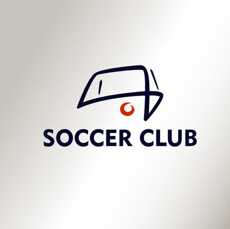 bannière football: Modèle de logo vecteur Football Club de soccer. Ball à. Fond blanc, le logo de silhouette. Illustration