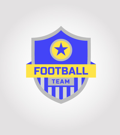 soccer club: Vector logo template soccer football team. The ball with a star on the shield. Isolated on a light background. Heraldic style. The blue, yellow and gray.