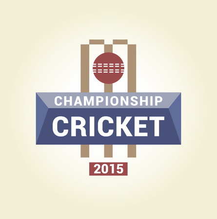 pitch: Vector logo template championship cricket. Isolated logo on a light background. Pitch, ball, gate, bit. Illustration