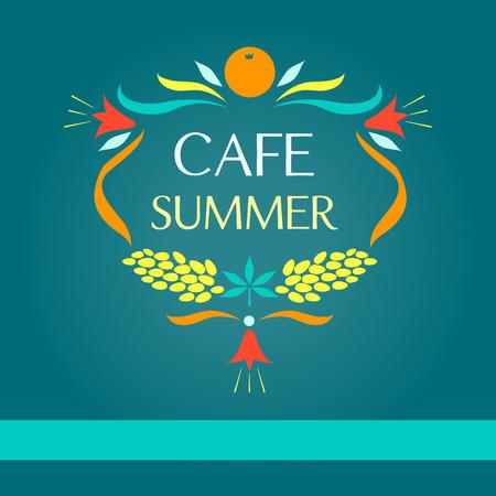 sammer: Template vector logo. Sammer cafe. Oval frame of fruits and flowers. Signboard cafe.