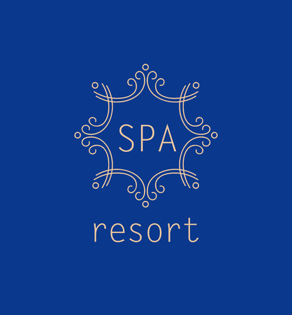 spa resort: Template vector logo for spa resort. Elegant monogram, trendy style. Wellness vacation, water treatments. Illustration