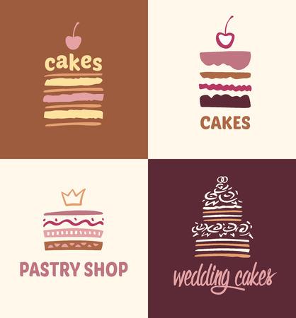 postres: Conjunto de los modelos del vector logotipos pasteles. Logo de confitería, cafetería. Grandes tortas con rellenos y pasteles de boda.