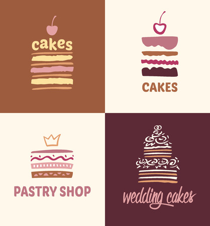 pastries: Set of patterns vector logos cakes. Logo confectionery, coffee shop. Big cakes with fillings and wedding cakes.
