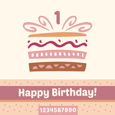 2 5 months: Happy Birthday cake, numbers. Vector card, one year.