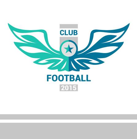 bannière football: Vector logo de l'équipe de football modèle de soccer. Ailes d'un oiseau, un aigle dans un style héraldique. Isolé sur fond blanc. Signe de l'impression sur la chemise.