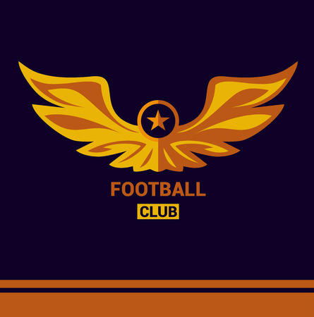founding: Vector logo template soccer football team. Wings of a bird, an eagle in heraldic style. Isolated logo on a dark background. Sign of the print on the shirt. Gold, orange, yellow. Illustration