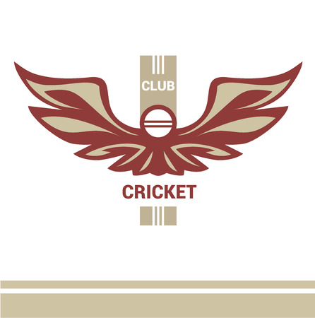 cricketer: Vector logo template cricket club. Wings of a bird, an eagle in heraldic style. Isolated logo on a light background. Pitch, ball, wicket.