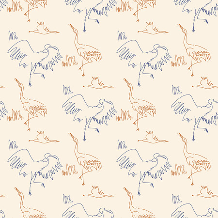 blue heron: Seamless pattern with birds. Herons, sketch, draw by hand. Contour line.