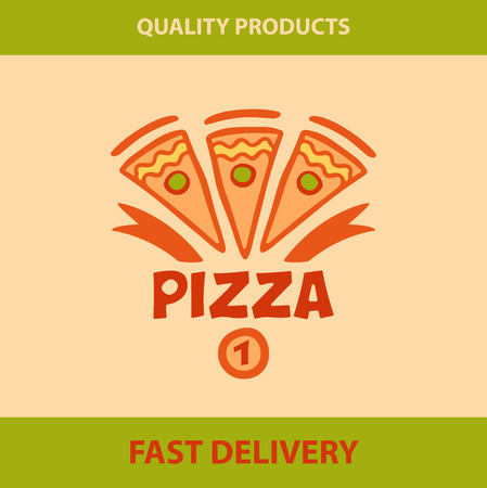 Template vector logo pizza, pizzeria. Best pizza, high quality product, the award medal. The speed of delivery.