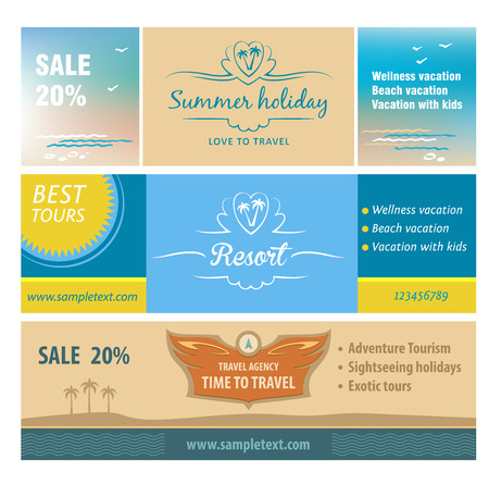 A set of banners for the travel and tourism resort. A set of logos for a travel agency. Horizontal vector background. Summer holiday resort, while travel discounts.