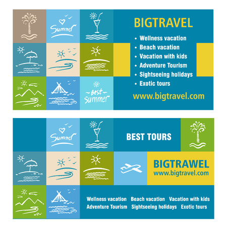 tour operator: Template ads, banner icon Tourism, tour operator. Big travel.  Vacation, travel and tourism. White silhouette illustration on a colored background. Illustration