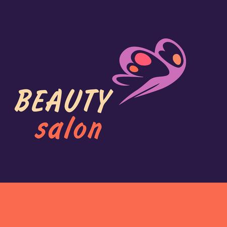 donna farfalla: Vector logo salone di bellezza. Donna farfalla di volo. Medicina estetica, modellamento del corpo, fitness, massaggi. Logo sfondo.