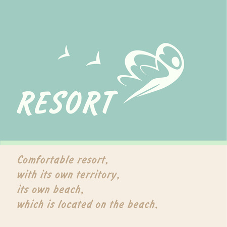Vector logo of the resort. Woman bird flying in the sky. Rehabilitation and recreation. Background blue logo.
