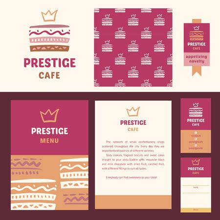 prestige: Vector stationery template design for cafe. Prestige cafe, elegant style. Documentation for business, logo design, corporate style. Menu. Design element for cafe. Stock Photo