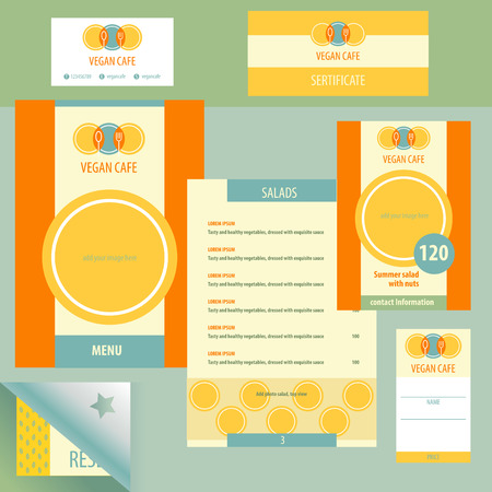 business service: Template logo and corporate identity, identification of vegetarian cafe, vegan food. A set of stationery items menu. The logo depicts a plate, a fork and a boat, a tree. Bright, juicy, color, orange, green. A healthy breakfast, lunch and dinner.